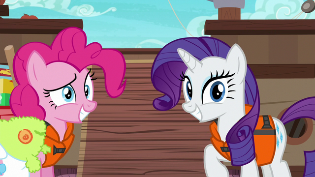 File:Pinkie and Rarity grinning at Applejack S6E22.png