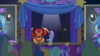 Trixie presents the pony-eating manticore S6E6