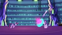 Twilight Sparkle fires magic at Starlight S6E21