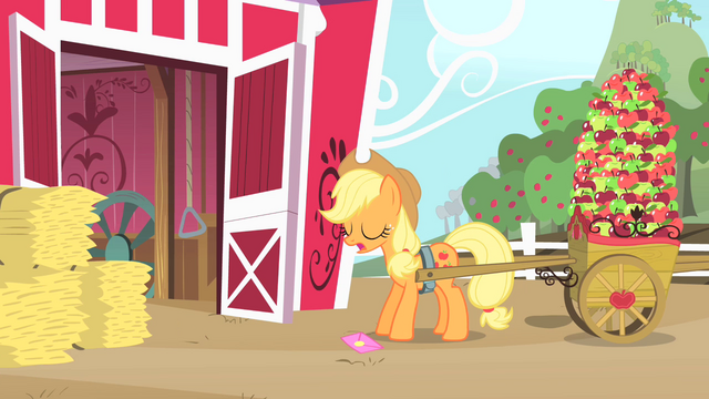 File:Applejack about to pick up the invitation S1E25.png