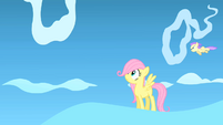 Fluttershy looks at the cloud ring she has to cross S1E23