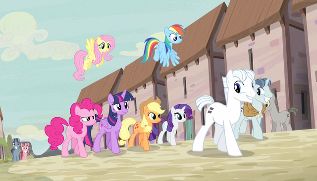 File:Party Favor and Double Diamond lead Mane Six S5E1.png