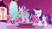 Rarity taking Starlight's measurements S6E6