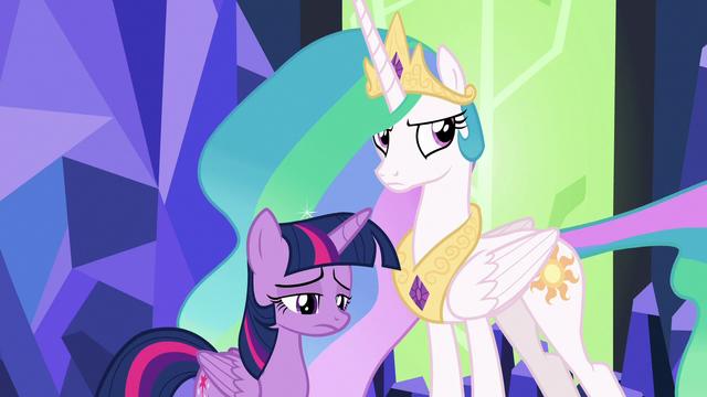 File:Twilight sad; Celestia glares at Spike S7E1.png