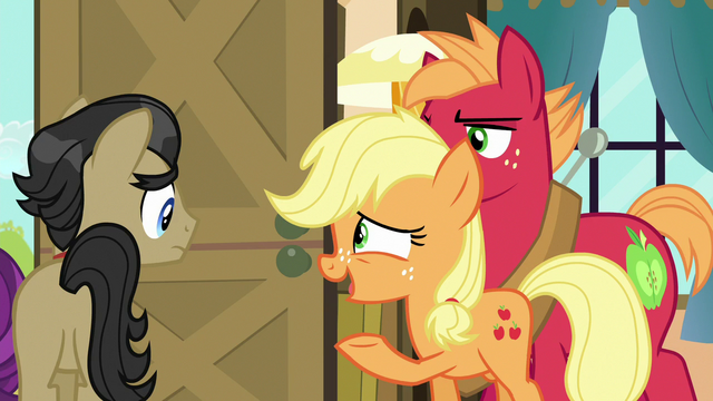 File:Applejack gesturing houseguests out the door S6E23.png