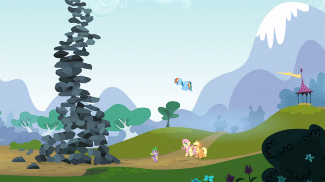 File:Rainbow Dash faces the rock tower S3E09.png