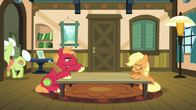 File:Applejack and Big McIntosh sigh in relief S6E23.png