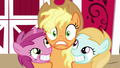 Applejack hugging Ruby Pinch and unnamed filly S7E14.png