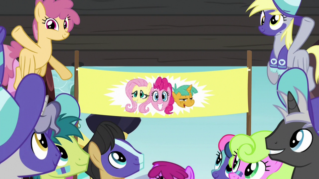 File:Buckball banner of Fluttershy, Pinkie, and Snails S6E18.png