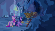 Cadance and Twilight with minecart S2E26.png