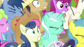 Ponies startled by Twilight's loud voice S7E14.png