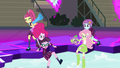 Sour Sweet saves Pinkie Pie and another Shadowbolt; Sunny Flare and Puppy Spike save Fluttershy EG3.png
