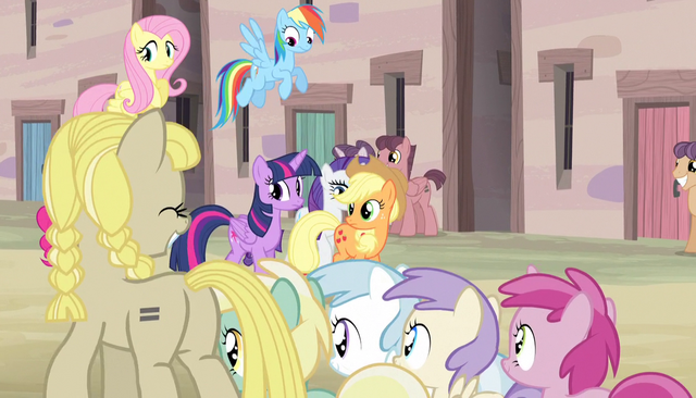 File:Fillies walking past the mane six S5E1.png
