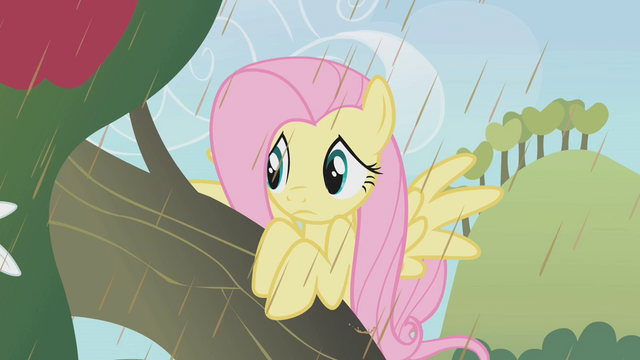 File:Fluttershy looking around from tree S2E1.png