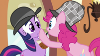 Pinkie Pie putting hoof at Twilight's mouth S2E24