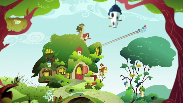 File:Rainbow Dash flies away from the cottage S6E11.png
