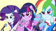 Twilight, Rarity, and Rainbow singing EG2
