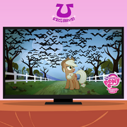 Applejack looking at the vampire fruit bats promotional S4E07