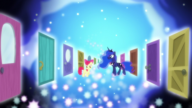 File:Dream doors appear around Apple Bloom and Luna S5E4.png