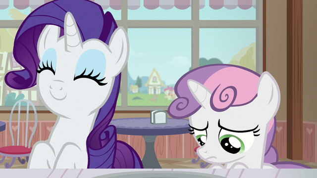 File:Rarity delighted; Sweetie Belle more discouraged S7E6.png