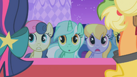 Sweetie Drops, Lyra and Cloud Kicker observe the hideous dresses S1E14