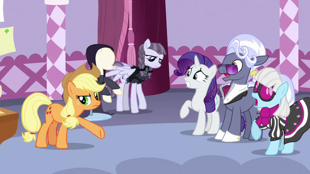 File:Rarity, Hoity, and Photo Finish surprised by AJ's criticisms S7E9.png