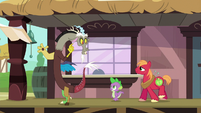 Discord greets Spike and Big McIntosh S6E17