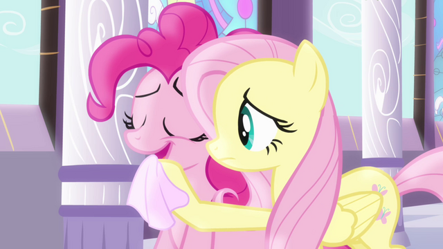 File:Fluttershy wiping Pinkie's mouth with a napkin S4E01.png