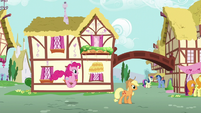 Pinkie Pie and Applejack walking through Ponyville S6E11