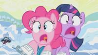 Pinkie Pie and Twilight crashing S1E11