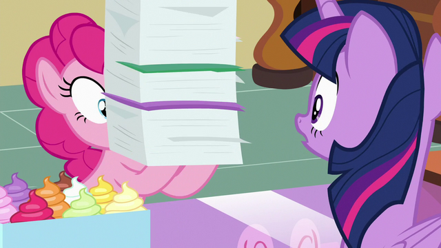 File:Pinkie Pie returns with tall stack of files S7E3.png