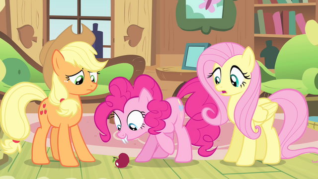 File:Pinkie Pie staring at the apple S04E07.png
