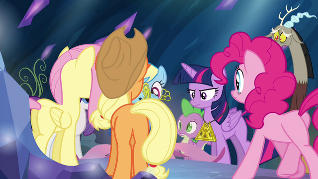 File:Mane 6, Spike and Discord gathering around the chest S4E26.png