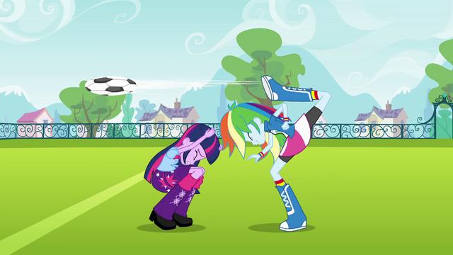 File:Rainbow Dash back-kicks the ball EG.png