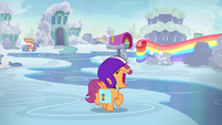 Scootaloo squeals loudly while spinning around S7E7