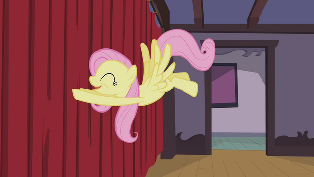 File:Fluttershy pushing the curtain S4E14.png