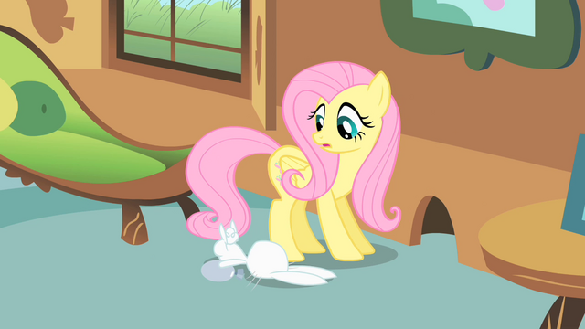 File:Fluttershy turns to look at Angel S1E22.png