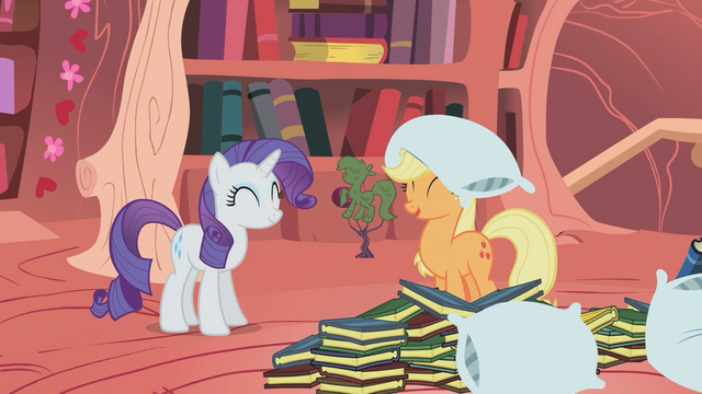 File:Happy Rarity and Applejack S1E08.png