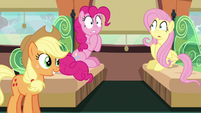 Pinkie Pie trembling at Applejack's words S6E18