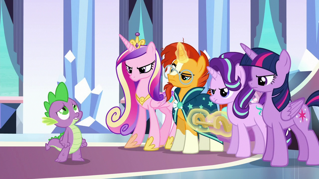File:Ponies look angry as Spike sings S6E16.png