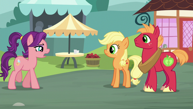 File:Spoiled Milk approaching Applejack and Big Mac S6E23.png