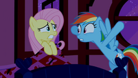 Rainbow Dash urges Fluttershy to get out of bed S02E15