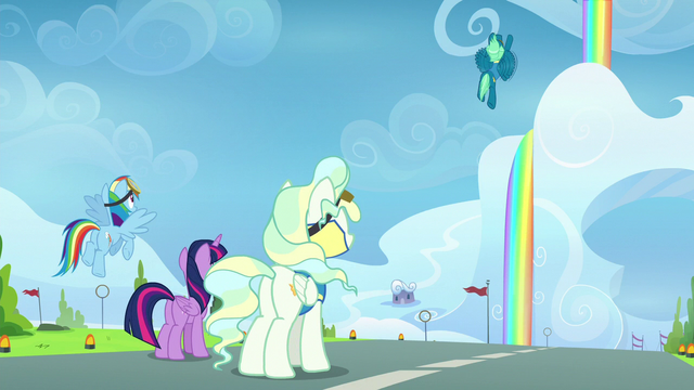 File:Twilight, Rainbow, and Vapor watching Sky in the air S6E24.png