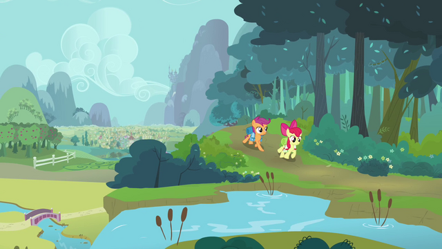 File:Apple Bloom and Scootaloo walking S3E06.png