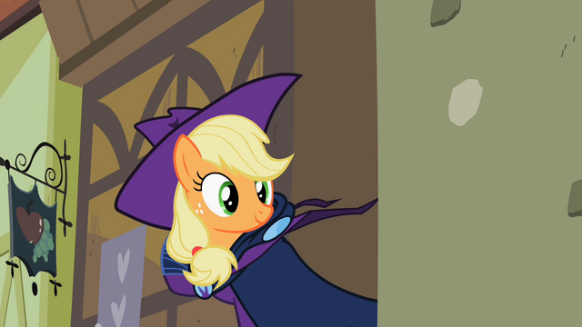 File:Applejack removes her Mare Do Well costume S2E08.png