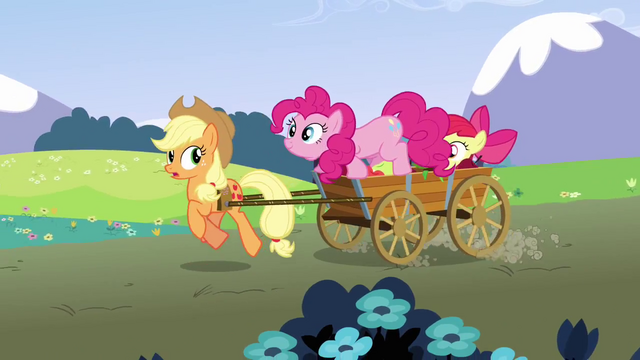 File:Pinkie Pie jumps into the cart S3E3.png