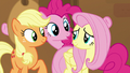 Pinkie appears between Applejack and Fluttershy S7E2.png