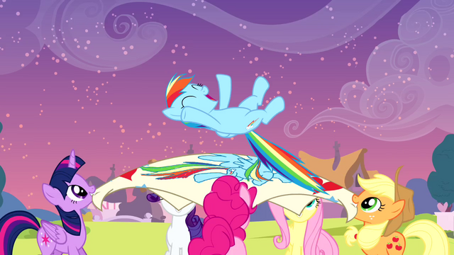 File:Rainbow being launched up by her friends S4E12.png