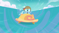 Filly Rainbow Dash riding a cloud cart S6E14.png