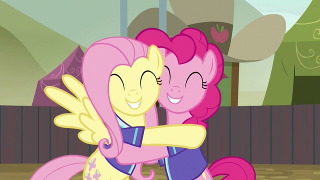 File:Fluttershy and Pinkie Pie hugging with joy S6E18.png